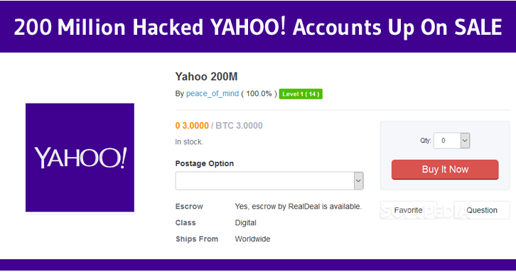 Some Hackers are Selling 200 Million Yahoo Accounts On Dark Web For some Bitcoins